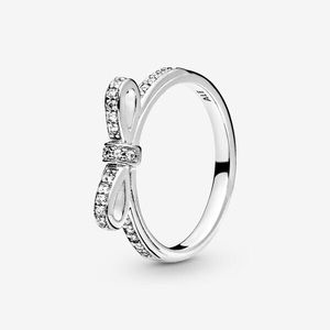 PANDORA Classic Bow Ring Sterling Silver CZ Size 6